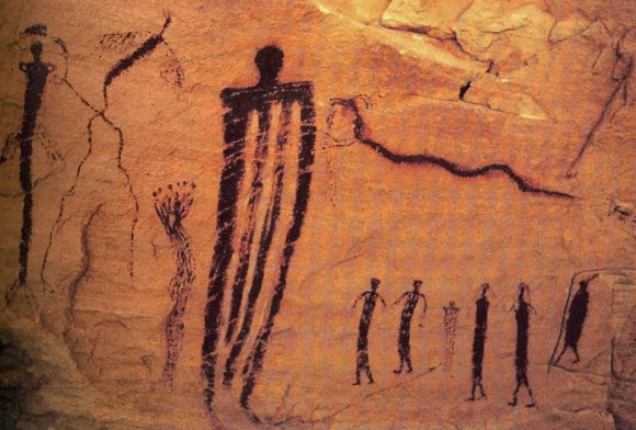 Middle-Paleolithic cave drawing: about 12,000 years ago...