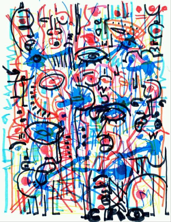 SO MANY MOODS AND ATTITUDES INTERTWINED/BUSY IS THE WORKPLACE ENDURING A NINE TO FIVE [Pen ink crayon marker watercolor, 2014]